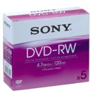 P-5DVDRW-Lot de 5 DVD-RW SONY réenregistrable 4,7 Go / Boite ''Slim Case'' - 4x